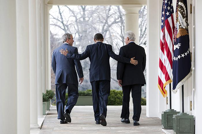 President Barack Obama with former Presidents Bill Clinton and George W. Bush, in the Rose Garden at the White House, 2010<br/>
