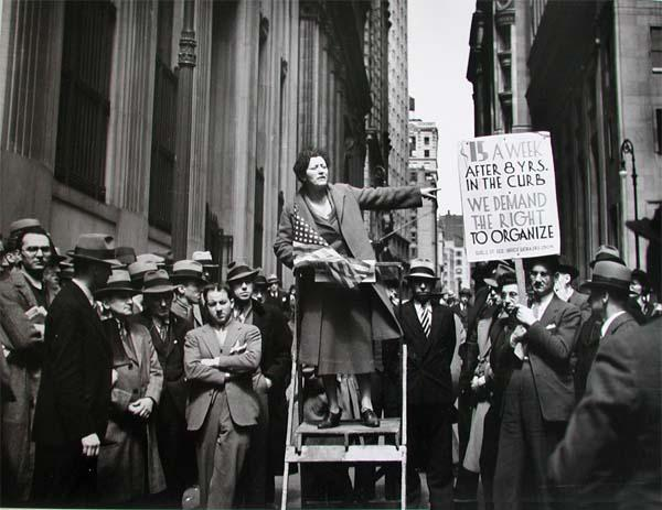 A Pioneer Organizer Of The Office Workers' Union, Wall Street and Broad Street, NYC, 1936 Gelatin Silver print