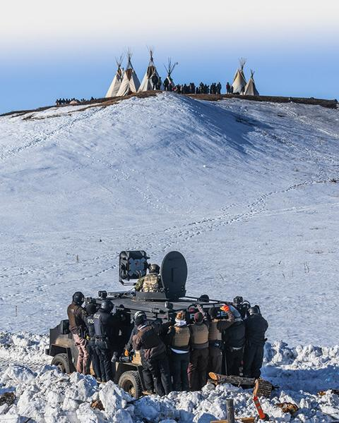 Protesters face off with police and the National Guard on February 1, 2017, near Cannon Ball, North Dakota.<br/>