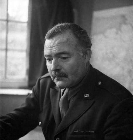 Ernest Hemingway, War Correspondent, 8th Air Force Headquarters, High Wycombe, England, 1945<br/>