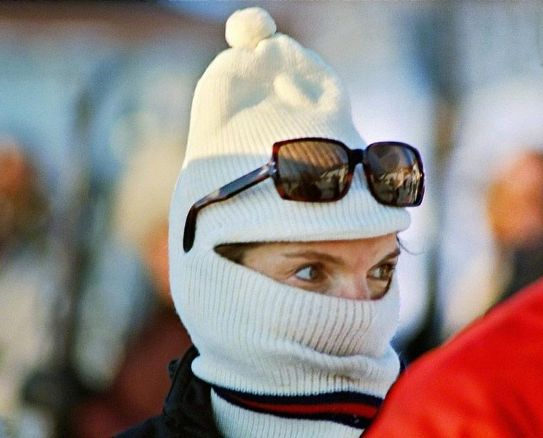 Jackie Kennedy with Ski Mask, Laurentian Mts., Canada, 1968<br/>