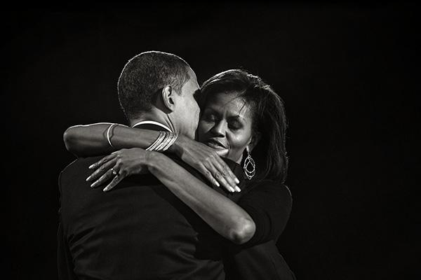 President-elect Senator Barack Obama hugs his wife Michelle during his election night rally in Chicago, 2008 Archival Pigment Print