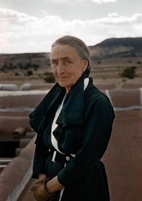 Georgia O'Keeffe on her rooftop, Abiquiu, New Mexico, 1960 Archival Pigment Print