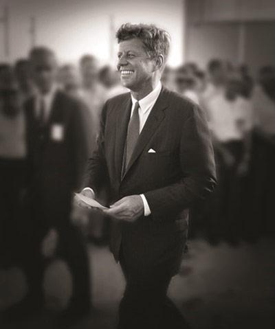 John F. Kennedy, Cape Canaveral in 1962 where he spoke to NASA personnel before giving his famous speech at Rice University about going to the moon<br/>