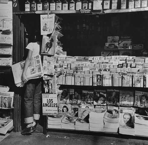 Newsboy at LA Newsstand, Los Angeles,1950