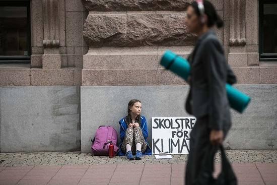 Greta Thunberg's first school strike for Climate, outside the Swedish Parliament, August 20, 2018 Archival Pigment Print