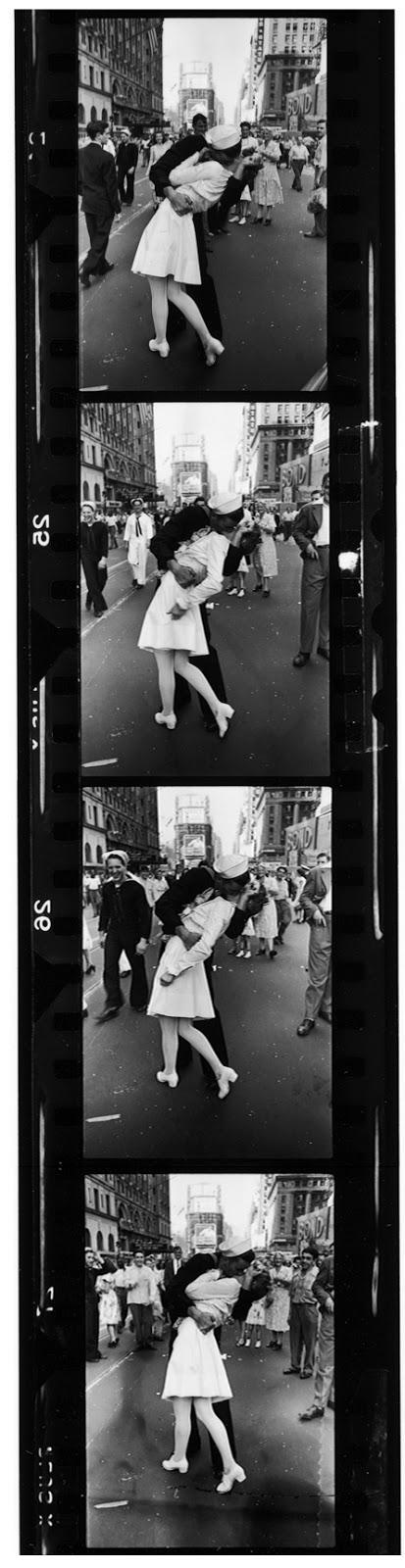 "Three frames of ""VJ-Day, Times Square, 1945"" Gelatin Silver print"