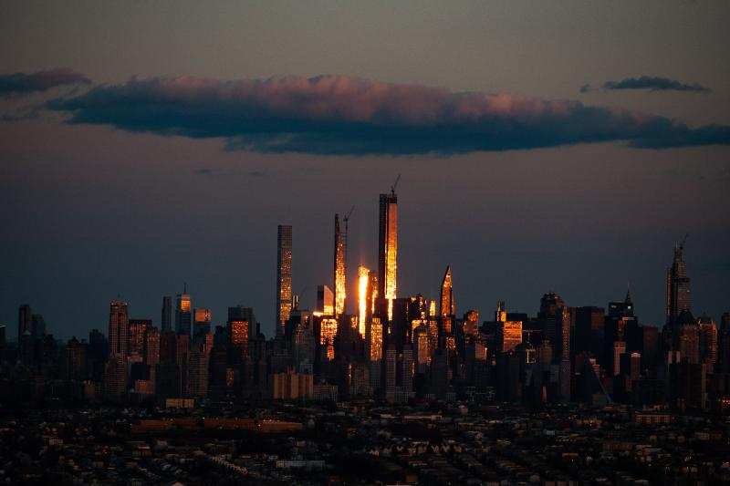 Sunset view of Manhattan's skyline as seen from New Jersey, April, 2020 Digital C Print