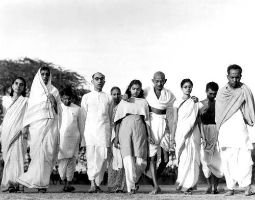 Gandhi walking with close advisors and family members, India, 1946<br/>
