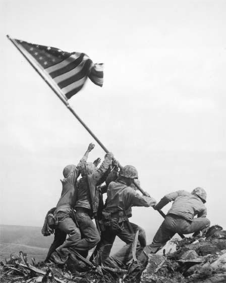 Marines of the 28th Regiment of the 5th Division Raise the American Flag Atop Mt. Suribachi, Iwo Jima, 1945<br>Joe Rosenthal &#169;The Associated Press<br/>