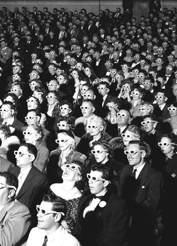 "Watching ""Bwana Devil"" in 3-D at the Paramount Theater, Hollywood, 1952 Gelatin Silver print"