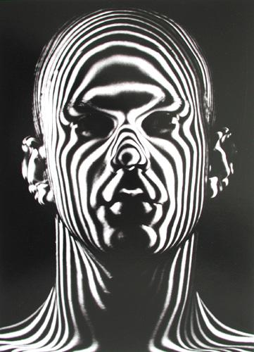 Light-beam contour map used by the Air Force to design flight helmets, 1954 Gelatin Silver print