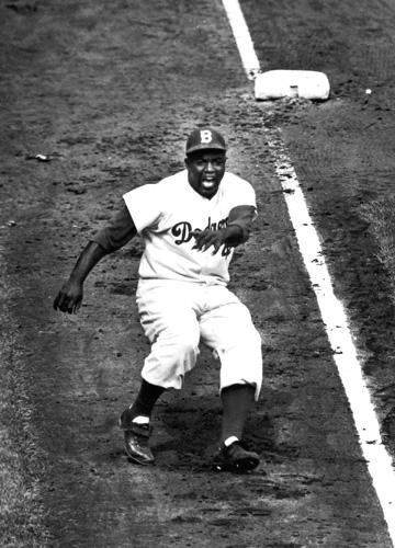 Jackie Robinson rounding Third base during World series against the Yankees, 1955 Gelatin Silver print