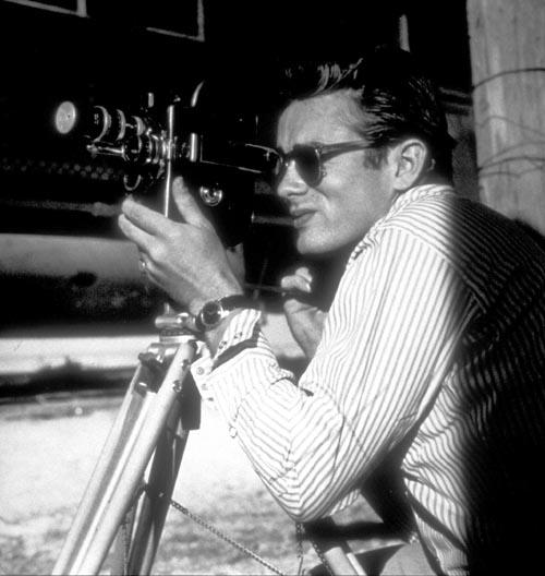 James Dean with Bolex camera on the location for Giant, Marfa, Texas, 1955<br/>