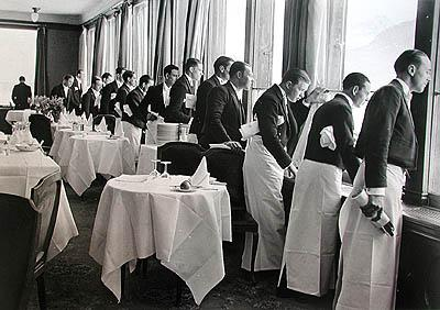 Waiters watching Sonya Henie skate, St. Moritz, 1932 ( Time Inc) Gelatin Silver print
