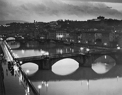 Night scene, River Arno, Florence, Italy, 1934 Gelatin Silver print