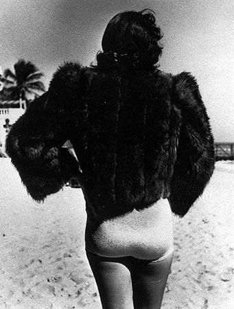 Woman wearing fur jacket during cold spell, Miami Beach, Florida, 1940 Gelatin Silver print