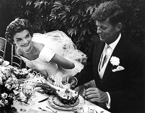 John and Jacqueline Kennedy at their wedding reception, Newport, RI, 1953 Gelatin Silver print