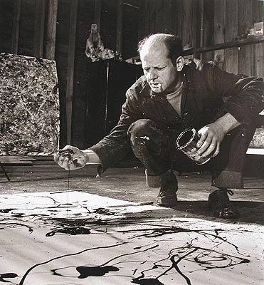 Jackson Pollock painting in his studio, Springs, New York, 1949 ? Time Inc