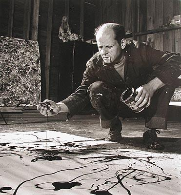 Jackson Pollock painting in his studio, Springs, New York, 1949 ? Time Inc<br/>