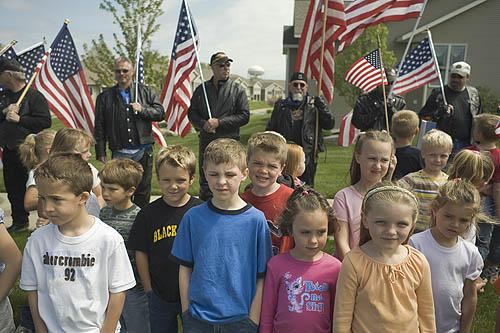 Patriot Guard with local children, Hudsonville, Michigan, 2006 Archival Epson Print