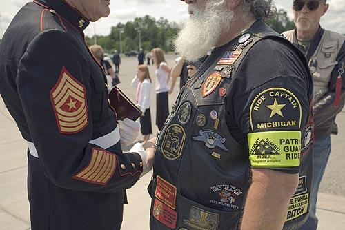 Veteran with Patriot Guard Captian, Lake Orion, Michigan,2006 Archival Epson Print