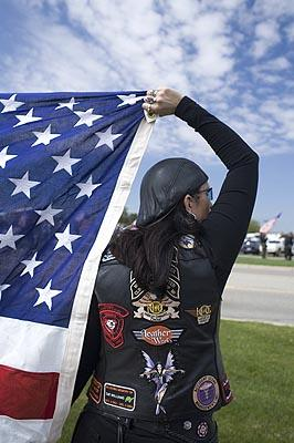Patriot Guard Woman with Flag, Hudsonville, Michigan, 2006 Archival Epson Print