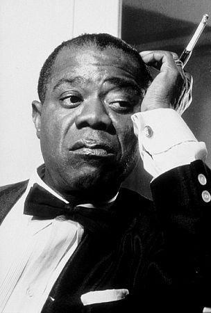 Louis Armstrong on the set of Still of Grace Kelly and Bing Crosby in High Society (1956)<br/>