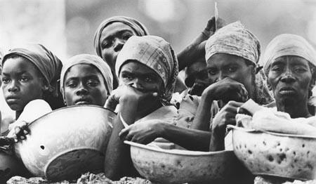 Haitian Women waiting for food, 1976 Vintage Gelatin Silver Print