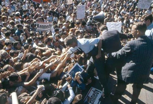 Bobby Kennedy with crowd during the 1968 Presidential race Archival Pigment Print
