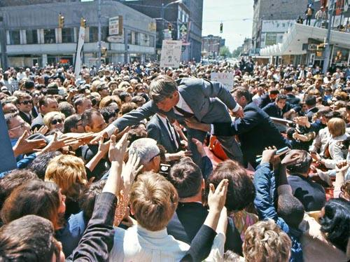 Bobby Kennedy with crowd in a Midwest city after entering the 1968 Presidential race Archival Pigment Print