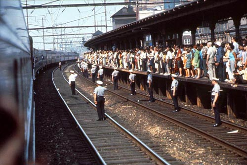 The Robert  F. Kennedy funeral train travels through Trenton, New Jersey