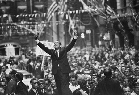Richard Nixon giving a victory speech, 1968 by Lee Balterman - Time Inc. Vintage Gelatin Silver Print
