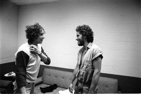 Bob Dylan and Bruce Springsteen Meeting For First Time, Backstage, New Haven, Ct, 1975 Gelatin Silver print