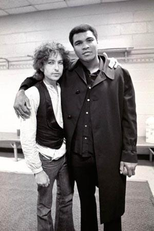 Bob Dylan and Muhammad Ali In Dressing Room For Night Of The Hurricane Gelatin Silver print