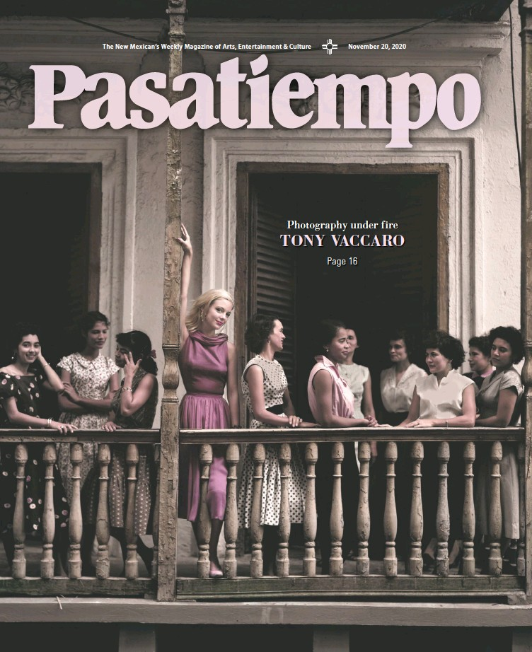 Cover of Nov 20 Pasatiempo magazine with Tony Vaccaro photograph of Girls on Balcony in Puerto Rico, 1951