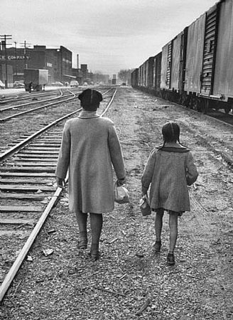 Brown Sisters Walk to School, Topeka, Kansas, 1953. Photograph by Carl Iwasaki