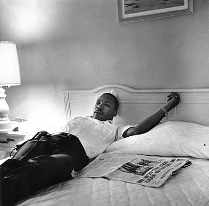 Dr. Martin Luther King, Jr. resting in Lorraine Motel following March Against Fear, Memphis, TN, 1966