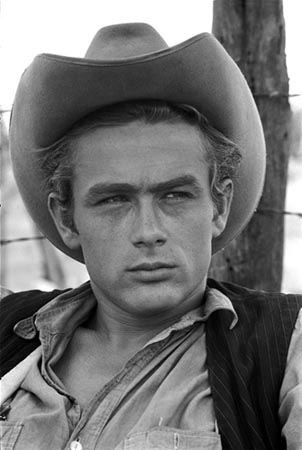 James Dean in Cowboy hat during the filming of