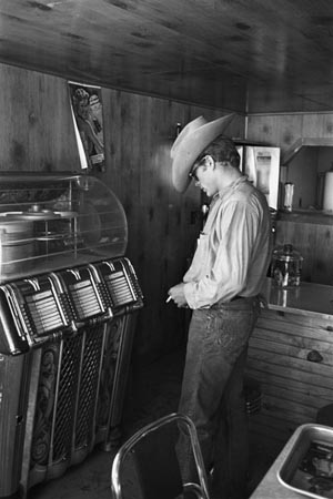 James Dean at Juke Box during the filming of