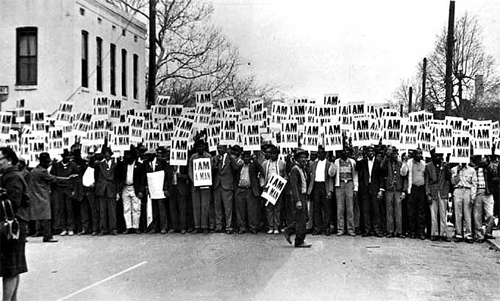 Sanitation Workers assemble in front of Clayborn Temple for a solidarity march, Memphis, TN, March 28, 1968