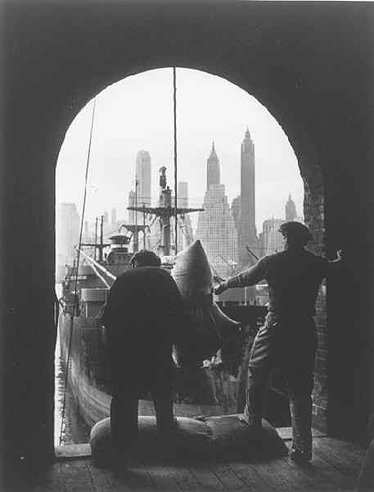 Unloading coffee at Brooklyn dock, New York, c. 1946