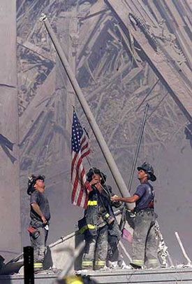 Firefighters at Ground Zero, Sept. 11, 2001<br>© Bergen Record