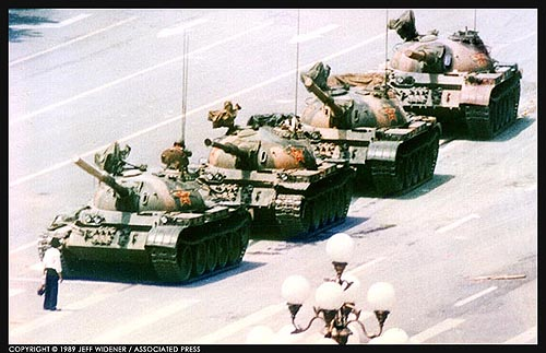 A lone man stops a column of tanks near Tiananmen Square, 1989 Beijing, China